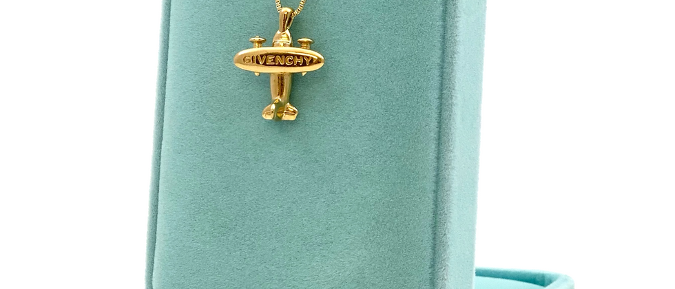 Vintage Repurposed 1980's RARE Givenchy Gold Airplane Charm Necklace
