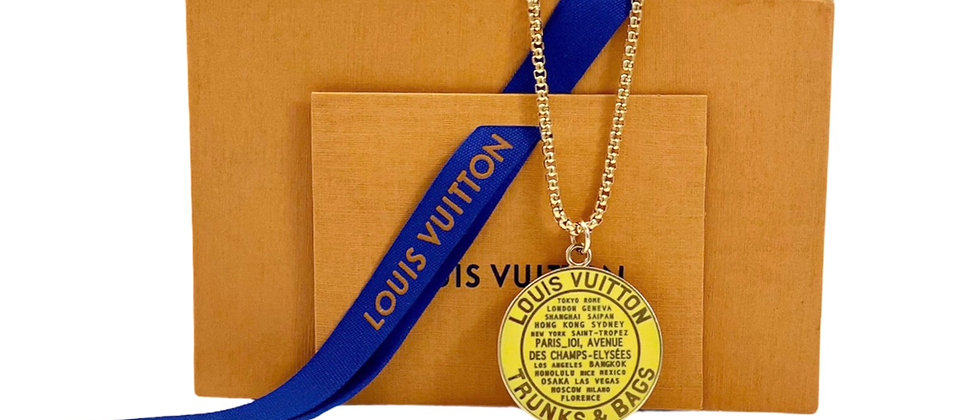 Repurposed Louis Vuitton XL Yellow Enameled Very Rare Globe Charm Necklace