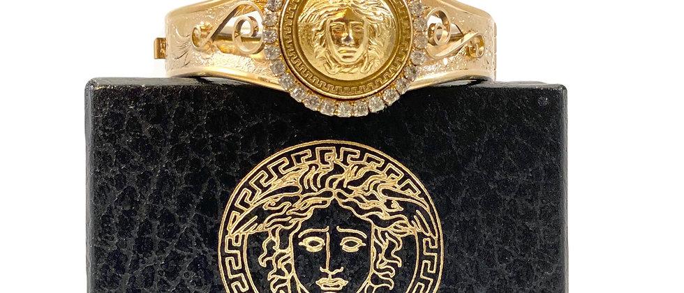 Repurposed Vintage Versace Medusa Gold Bangle Cuff Bracelet