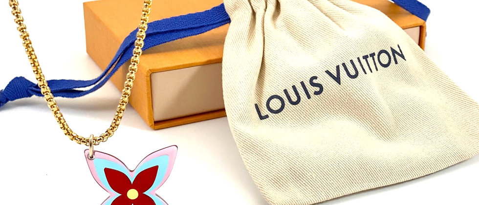 Repurposed Louis Vuitton XL Resin LV Signature Flower Charm Necklace