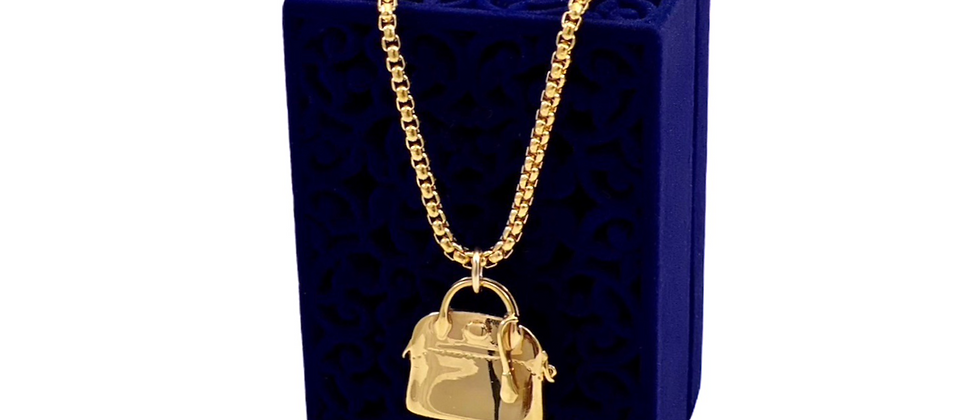 Repurposed Very RARE Hermès Bolide Bag Gold Charm Necklace