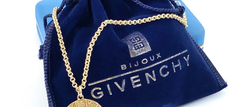 Vintage Repurposed 1980's Large Givenchy Paris Gold Medallion Choker Necklace
