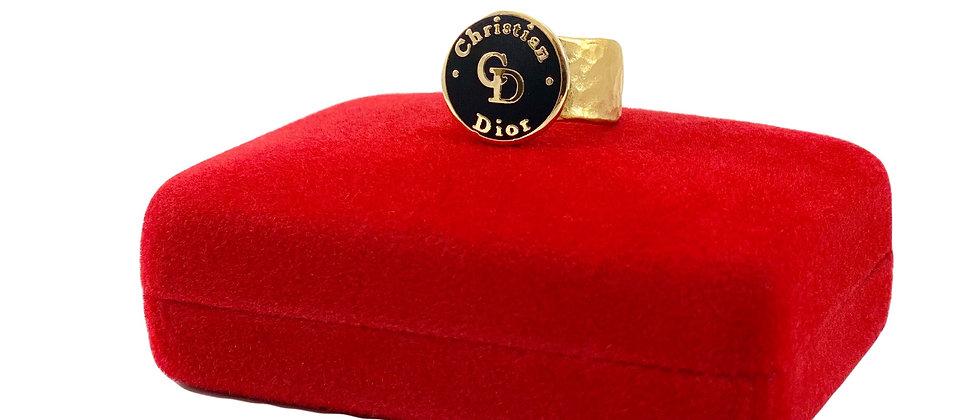 Repurposed Dior Black & Gold Hammered Adjustable Statement Ring