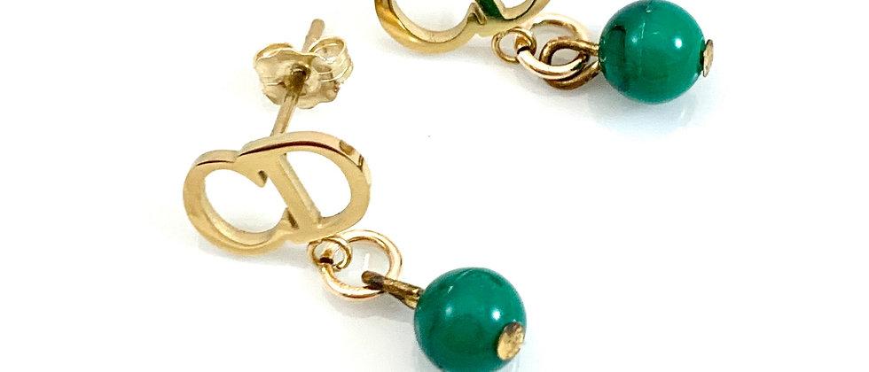 Repurposed Dior Small CD Logo & Emerald Green Vintage Bead Earrings