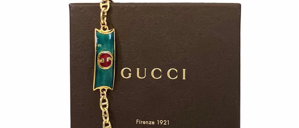 Vintage 1970's Repurposed Green Enameled Gucci Plate Bracelet