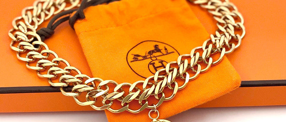 """Repurposed Vintage 1990's Hermès Large Gold """"H"""" Charm Chunky Choker Necklace"""