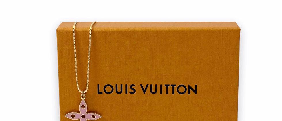 Repurposed Louis Vuitton Large Pink & Aqua Large Flower Charm Necklace