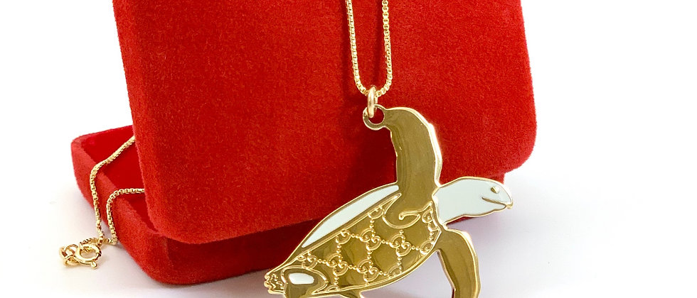 Repurposed Vintage Gucci Guccissima Large Turtle Charm Necklace