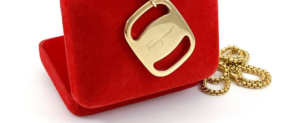 Repurposed Salvatore Ferragamo Large Gold Charm Double Wrap Necklace
