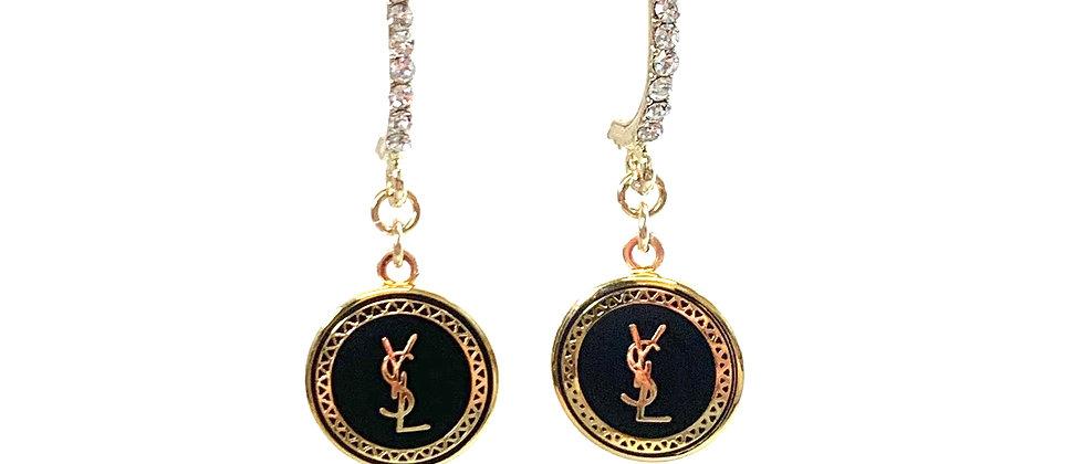 Repurposed Crystal Black & Gold YSL Drop Earrings