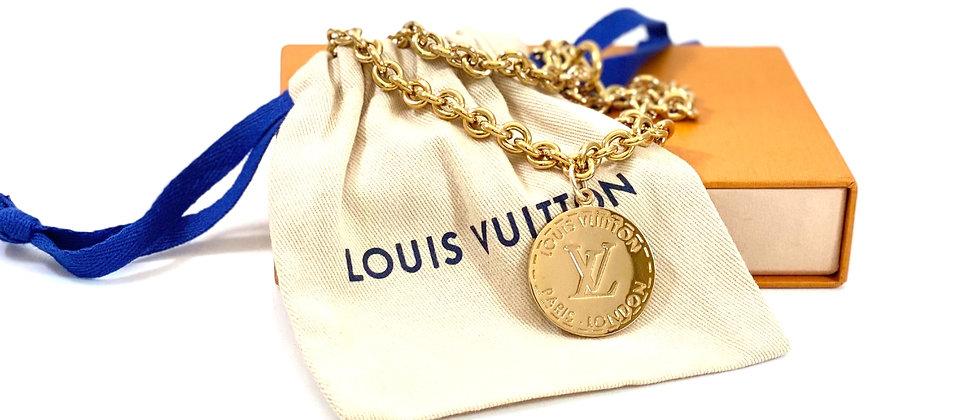 Repurposed Louis Vuitton Large Gold LV Monogram Charm Choker Necklace