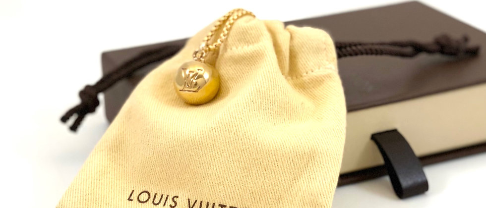 Repurposed Louis Vuitton Medium Gold LV Monogram Ball Charm Necklace