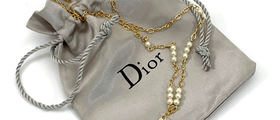 Repurposed Christian Dior CD Black & Gold Simulated Pearl Charm Necklace