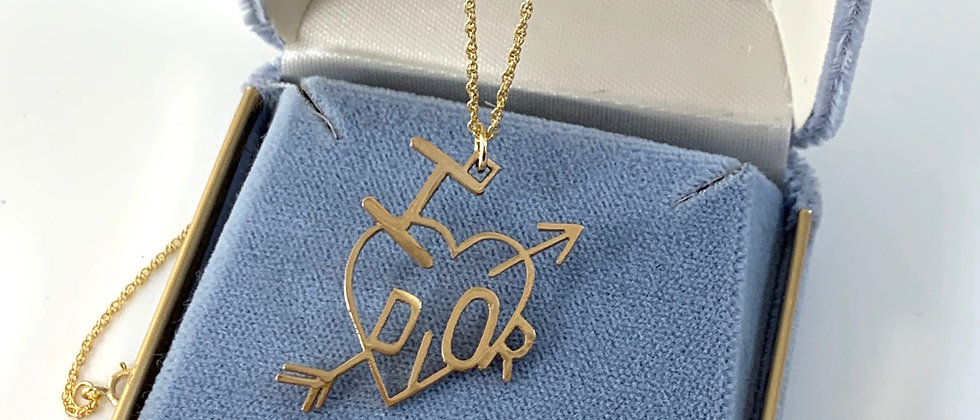 Repurposed Gold I Love Dior Heart Charm Necklace