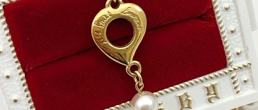 Repurposed Vintage 1980's YSL Heart & Simulated Pearl Bracelet