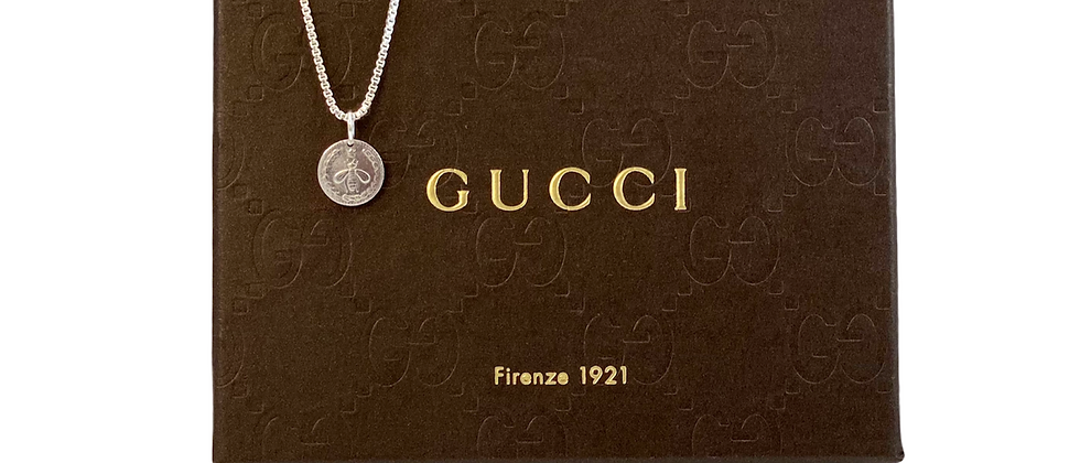 Repurposed Gucci Sterling Silver Petite Reversible Bee & Bird Charm Necklace