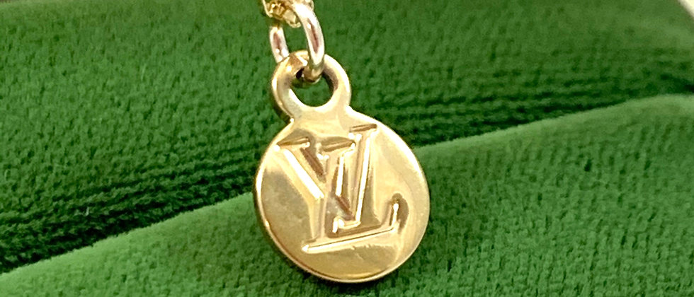 Repurposed Louis Vuitton Small Gold LV Monogram Charm Necklace
