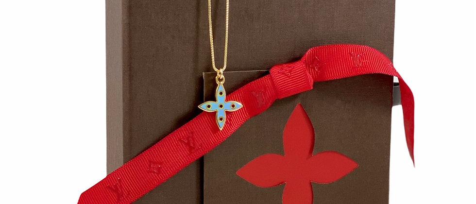 Repurposed Louis Vuitton Medium Blue & Yellow Flower Charm Necklace