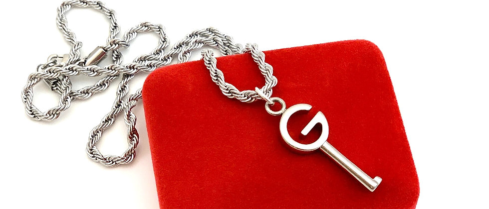 Repurposed Vintage Silver Gucci G Key Pendant Sterling Rope Necklace