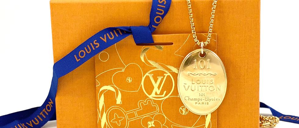 Repurposed Louis Vuitton HUGE 101 Champs-Élysées Paris Charm Necklace