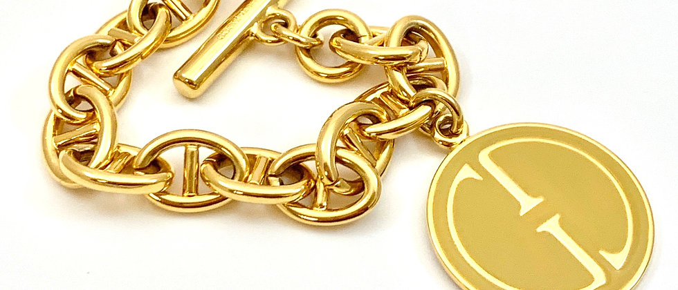 Repurposed Vintage 1990's Authentic Gucci Yellow Enamel XL Charm Bracelet