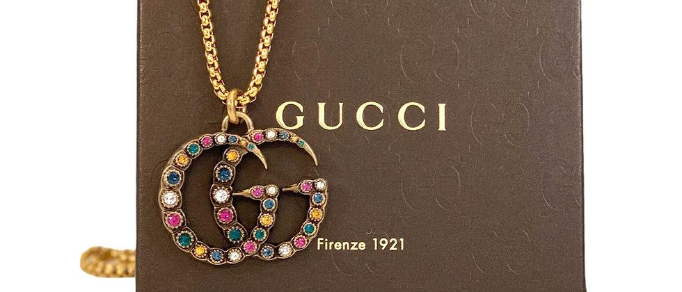 Repurposed RARE Gucci XL Multi Color Crystals Marmont GG Necklace
