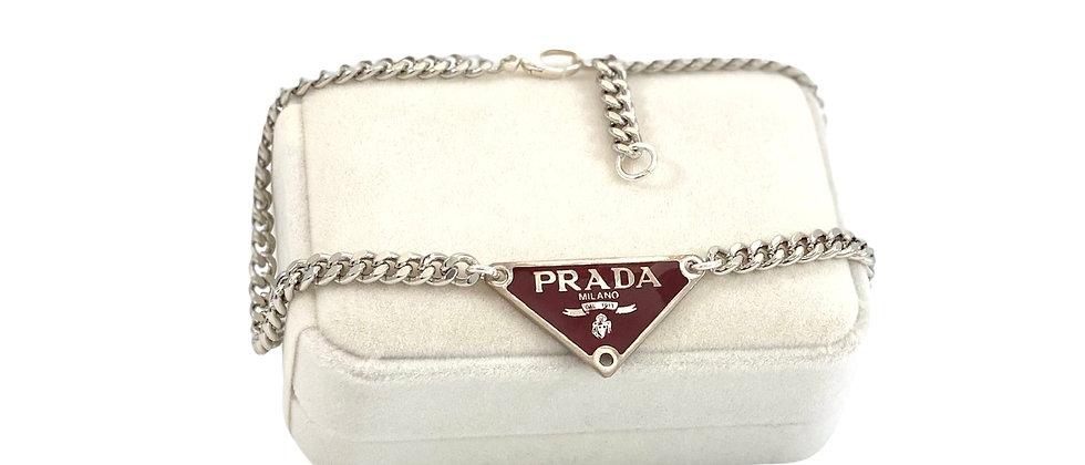 Repurposed Deep Burgundy & Silver Prada Tag Choker Necklace