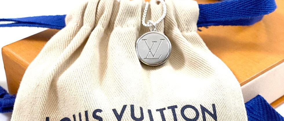 Vintage Repurposed Louis Vuitton Small Silver LV Monogram Charm Necklace