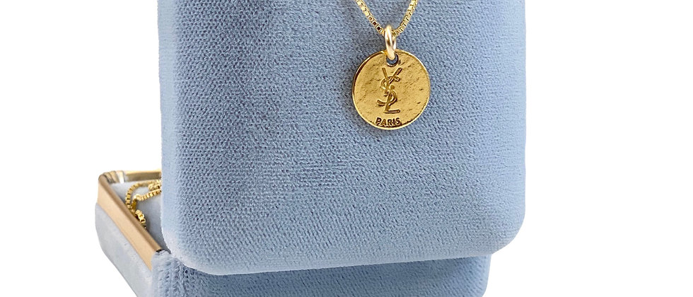 Vintage Repurposed YSL Paris Double Sided Gold Coin Charm Necklace