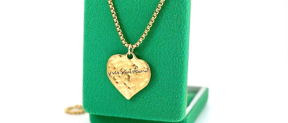Repurposed Vintage YSL Robert Goossens VERY RARE Love Hammered Heart Necklace