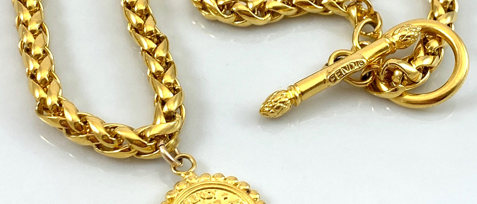 Vintage Fendi Double Sided Janus Coin Charm Toggle Necklace