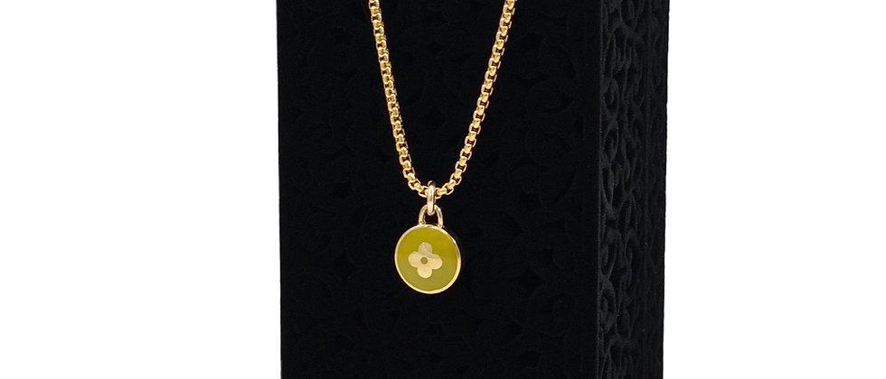 Repurposed Louis Vuitton Chartreuse & Gold Flower Pastilles Charm Necklace