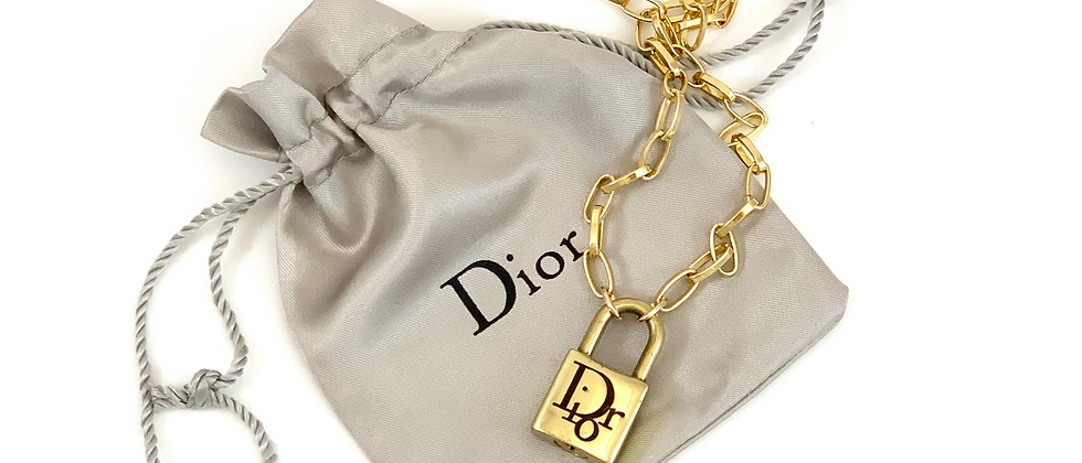 Vintage Repurposed Gold Dior Padlock Charm Choker Necklace