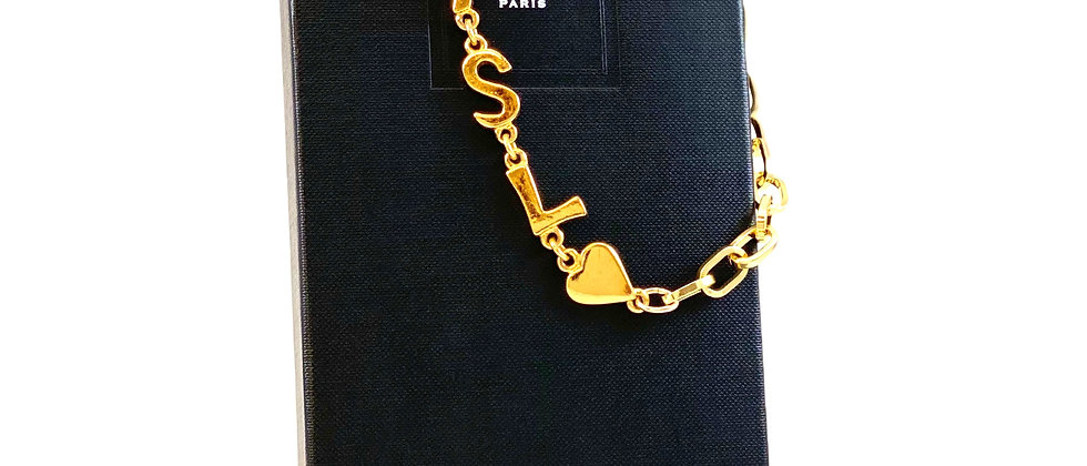 Repurposed Vintage 1980's YSL Letter & Heart Link Asymmetrical Choker Necklace