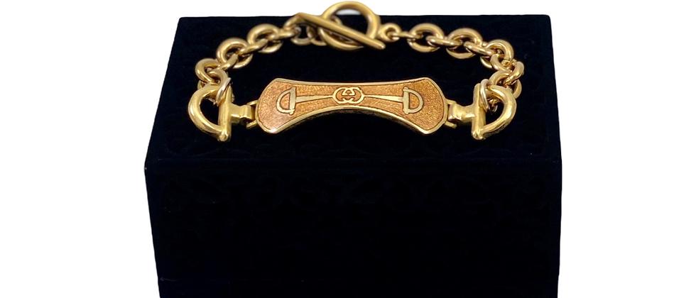 Repurposed Vintage 1970's Gold GG Enamel RARE Horsebit Link Bracelet