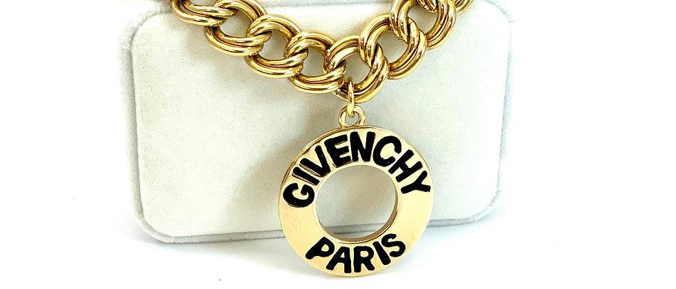 Vintage Repurposed 1980's HUGE Givenchy Paris Gold Medallion Choker Necklace