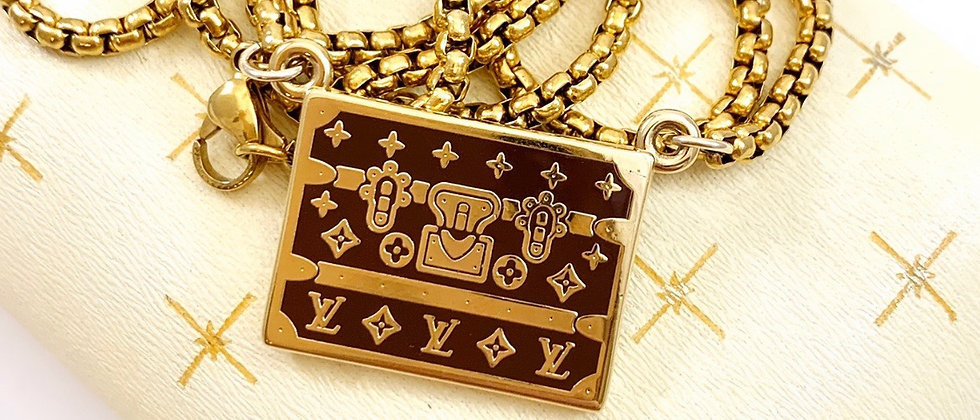Repurposed Louis Vuitton Large LV Brown & Gold Trunk Rare Charm Necklace