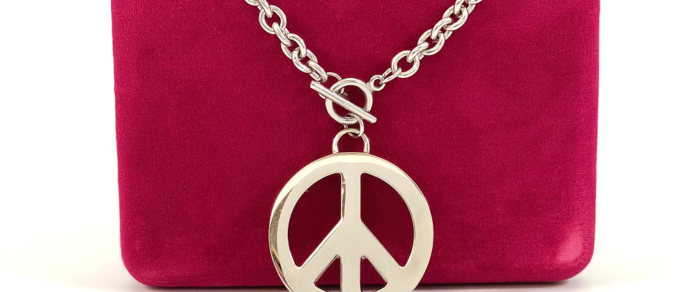 Repurposed HUGE Moschino Gold Peace Sign Choker Necklace