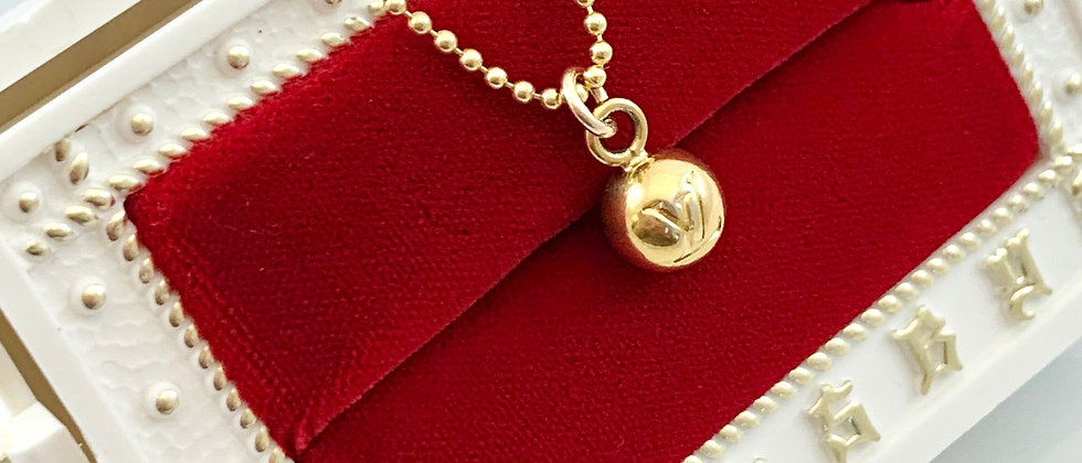 Repurposed Louis Vuitton Small Gold LV Monogram Ball Charm Necklace