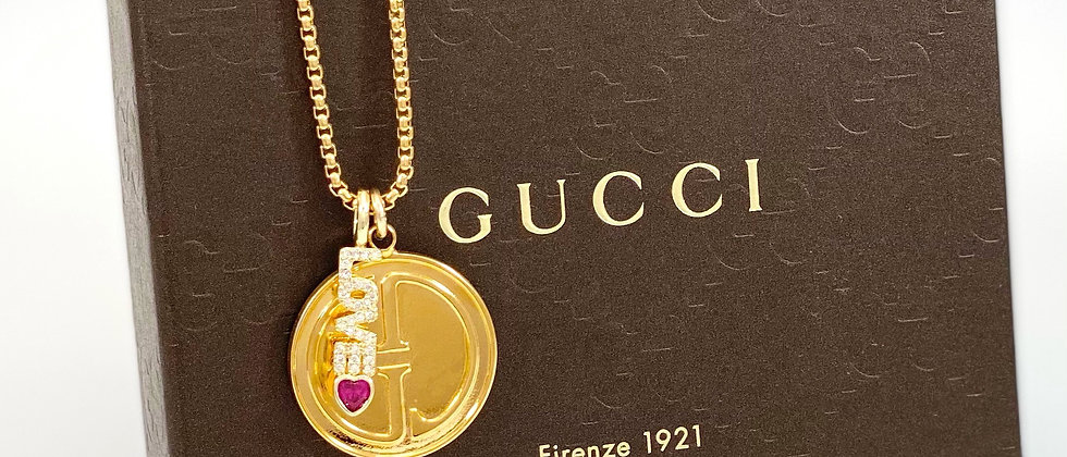 Repurposed Vintage 1990's Gold Gucci & Love Charm Necklace
