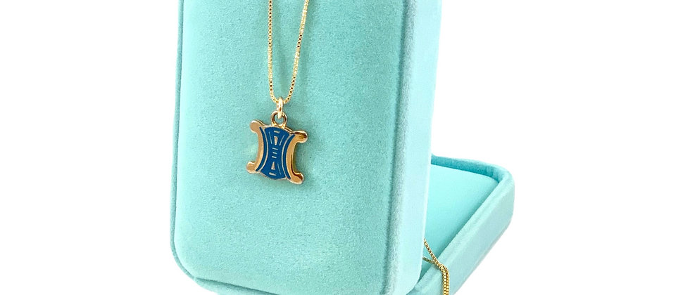 Repurposed Vintage Gold & Blue Enamel Logo Charm Necklace
