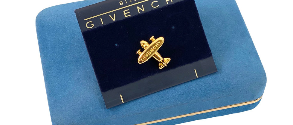 Vintage New Old Stock 1980's RARE Givenchy Gold Airplane Pin