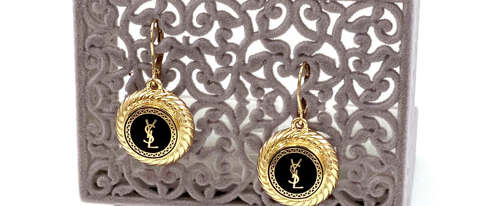 Repurposed Black & Gold YSL Button Accent Vintage Earrings