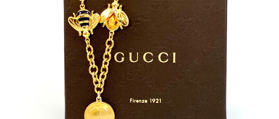Repurposed Vintage Large Gucci GG & Bee Charms Choker Necklace