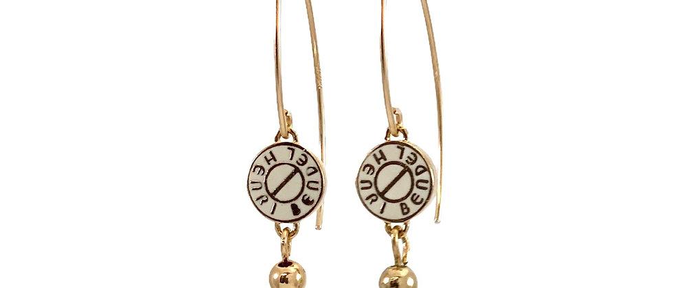 Repurposed Henri Bendel NY White & Gold Marquise Earrings