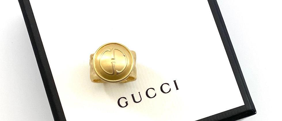 Vintage Repurposed Gucci GG Logo Statement Adjustable Ring