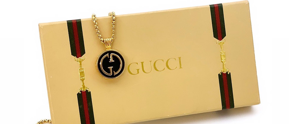 Repurposed Vintage Gucci Medium Black and Gold GG Logo Pendant Necklace