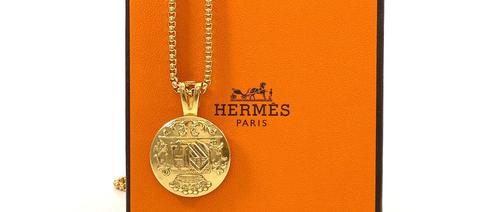 """Repurposed Vintage 1990's Hermès Large Gold """"H"""" Pendant Necklace"""