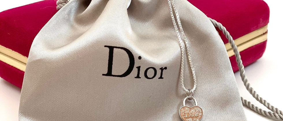 Repurposed Dior Sterling Silver & Pink Petite Glitter Heart Necklace