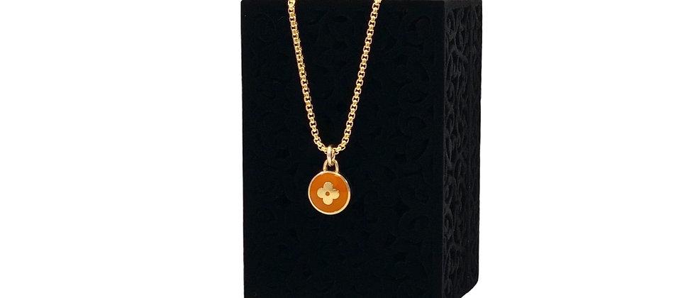 Repurposed Louis Vuitton Rust Orange & Gold Flower Pastilles Charm Necklace